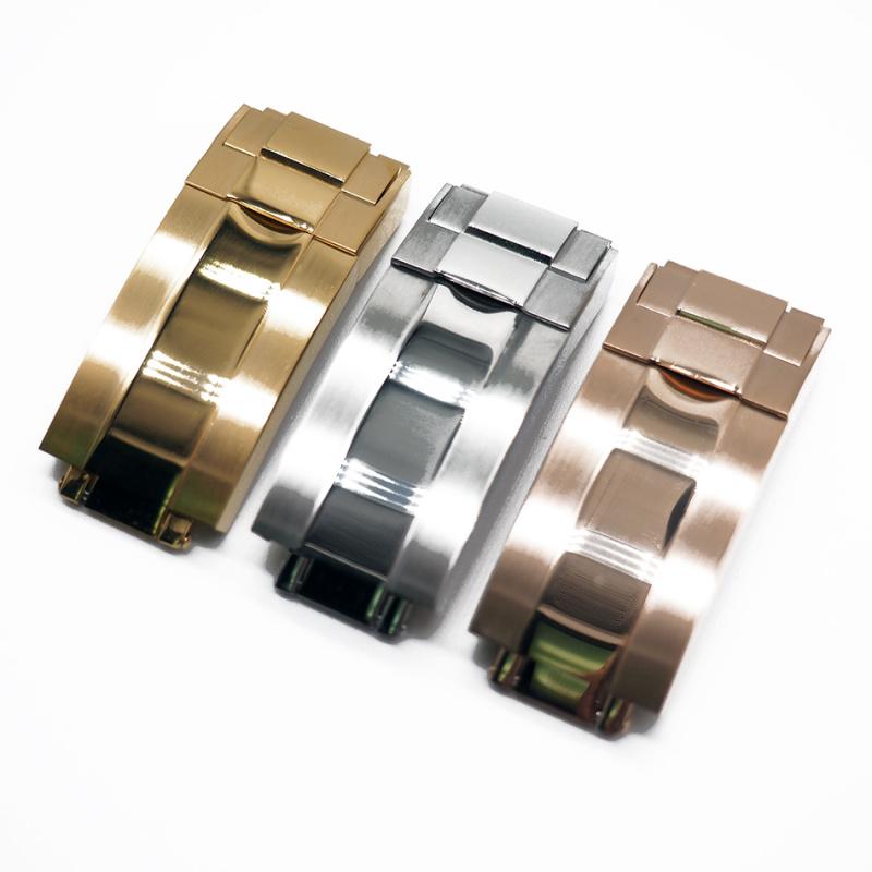 20mm 棕/黑色鱷魚皮 Rolex 代用錶帶