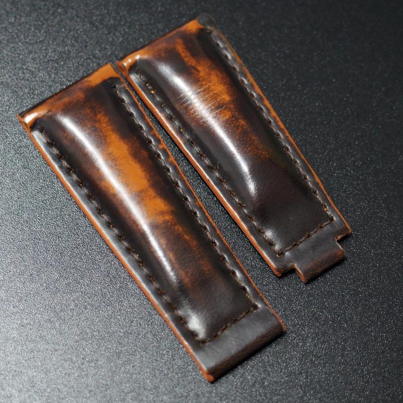 20mm 黑/橙色馬臀皮錶帶 適合Rolex