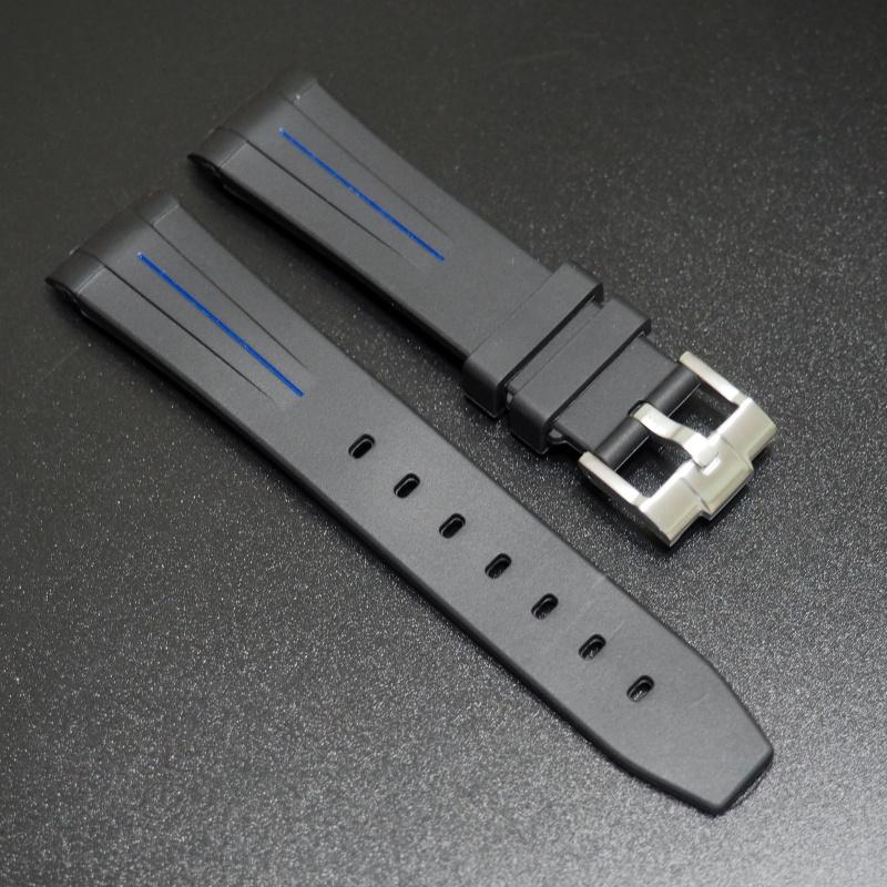20mm 黑色藍線橡膠錶帶 適合Rolex