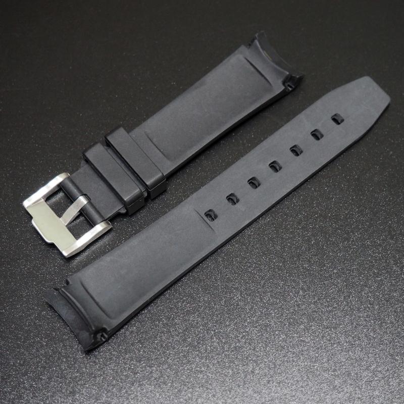 20mm 黑色白線橡膠錶帶 適合Rolex