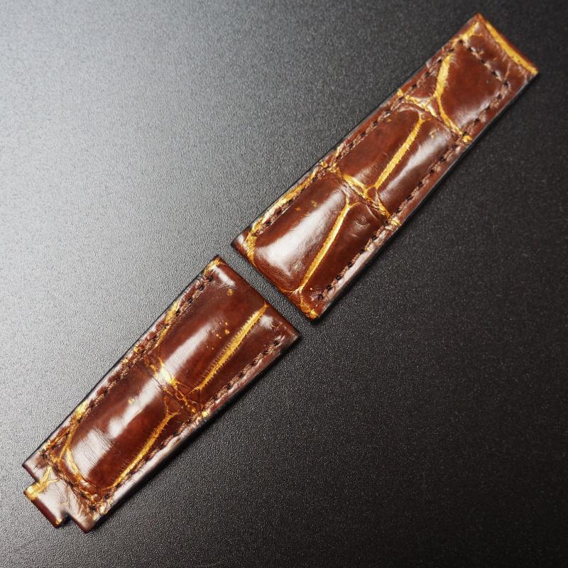 20mm 懷舊棕/金色鱷魚皮 Rolex 代用錶帶