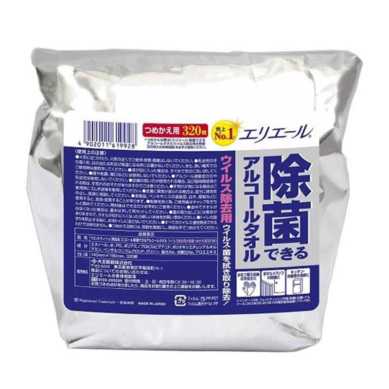 日本製 大王酒精消毒除菌 濕紙巾 家庭裝 320張 (補充裝)
