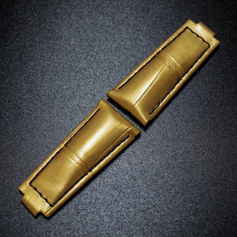 20mm 金色藍線鱷魚皮錶帶 適合Rolex Daytona (女裝)