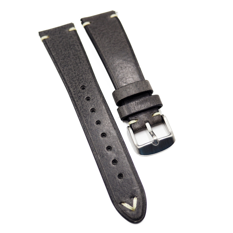 20mm 優質意大利鐵灰色 Pueblo 牛皮復古錶帶, 快拆生耳