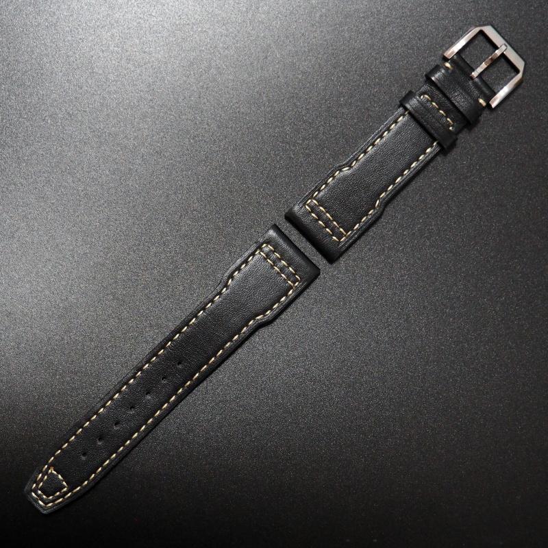 21mm IWC 黑色優質牛皮錶帶配白車線