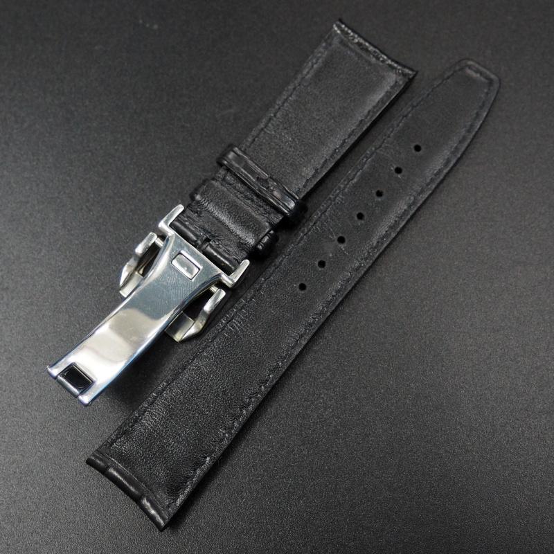 22mm IWC 黑色鱷魚皮錶帶配摺扣