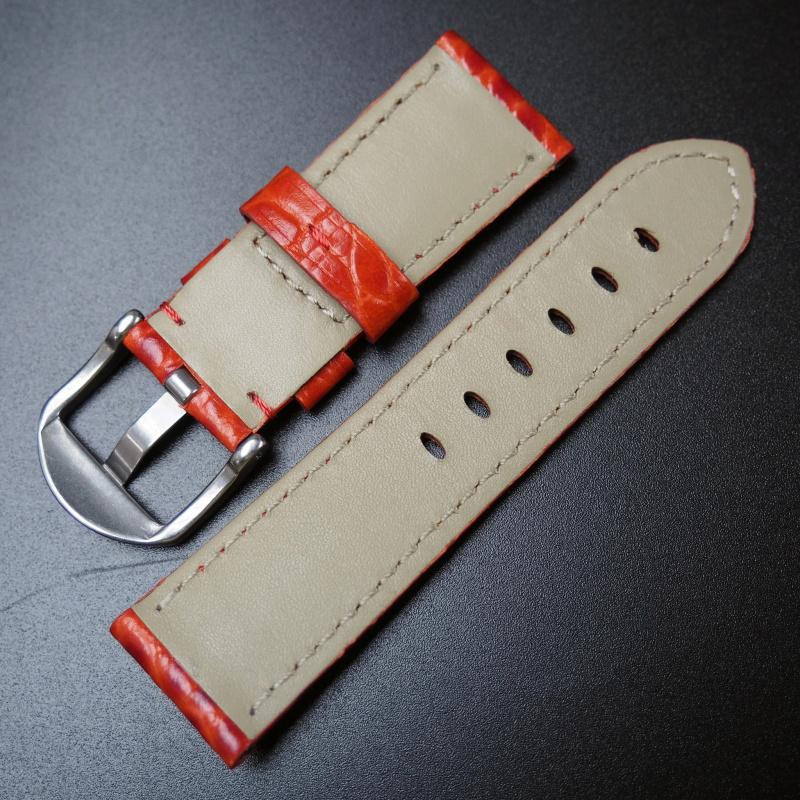 22mm Panerai 紅色鱷魚紋牛皮錶帶 (女裝)