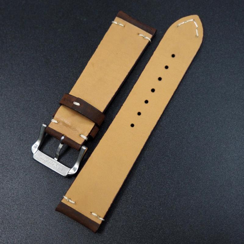 22mm Breitling 經典深棕色牛皮錶帶