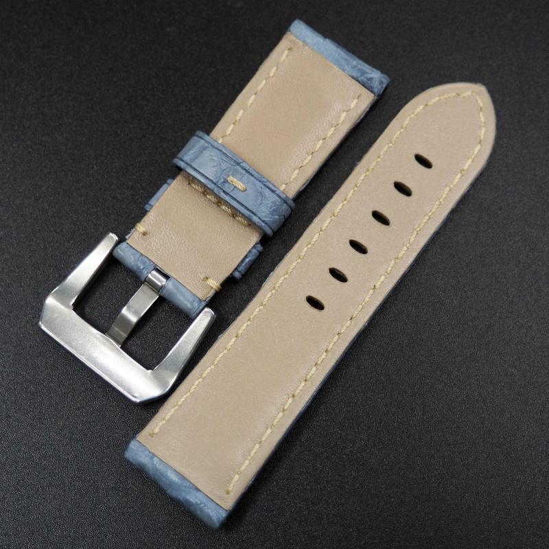 22mm Panerai 白鴿藍色鱷魚皮錶帶 (女裝短帶)