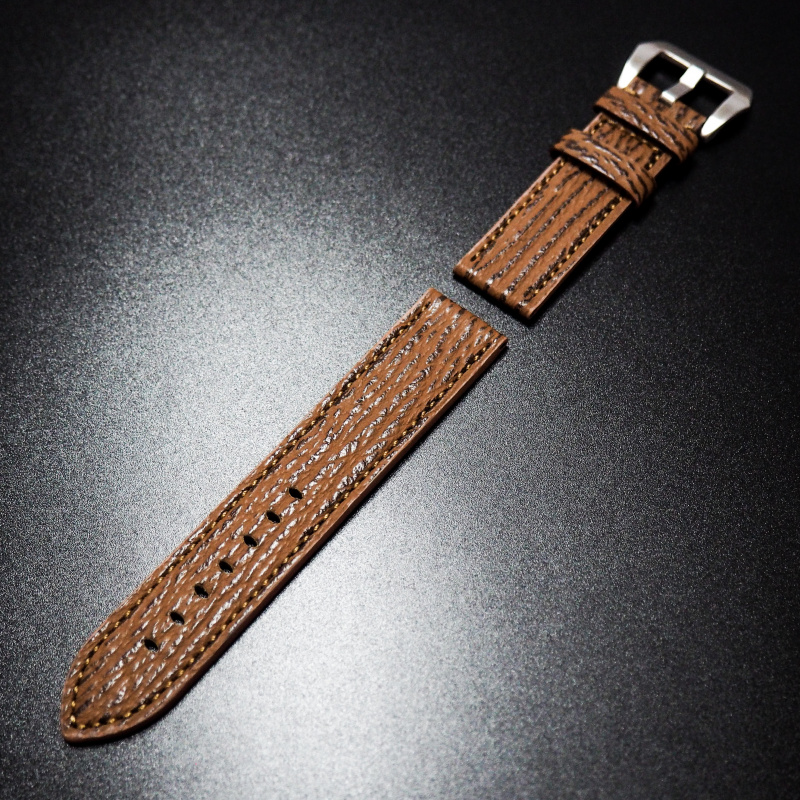 22/24mm 棕色鯊魚皮錶帶 適合Panerai