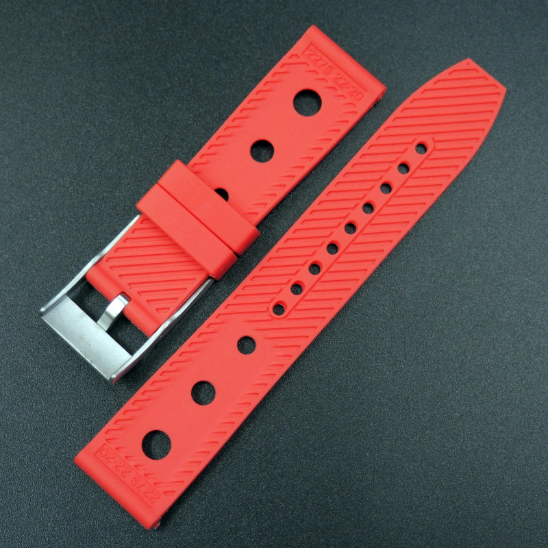 22/24mm Breitling 紅色橡膠錶帶配針扣