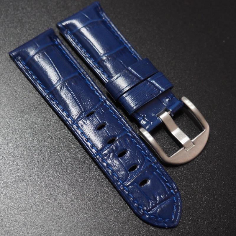 22mm, 24mm 藍色鱷魚紋牛皮錶帶 (女裝短帶)