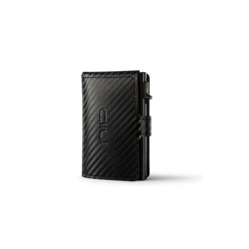 NIID - 強韌碳纖維‧真皮革‧RFID自動式小銀包型卡片盒