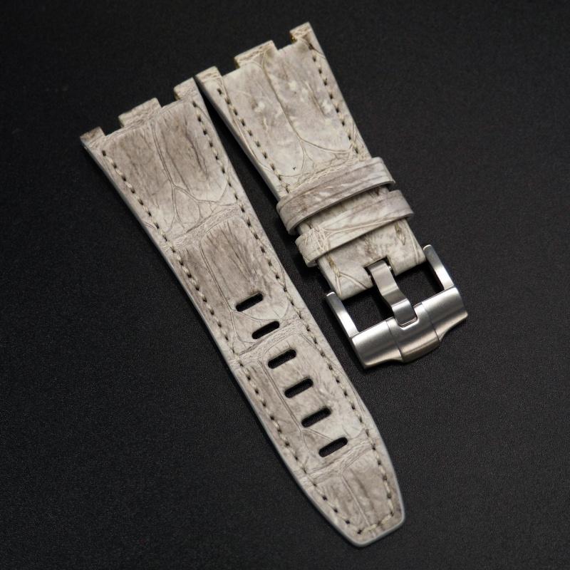 28mm 優質懷舊白色鱷魚皮錶帶 適合Audemars Piguet Royal Oak Offshore