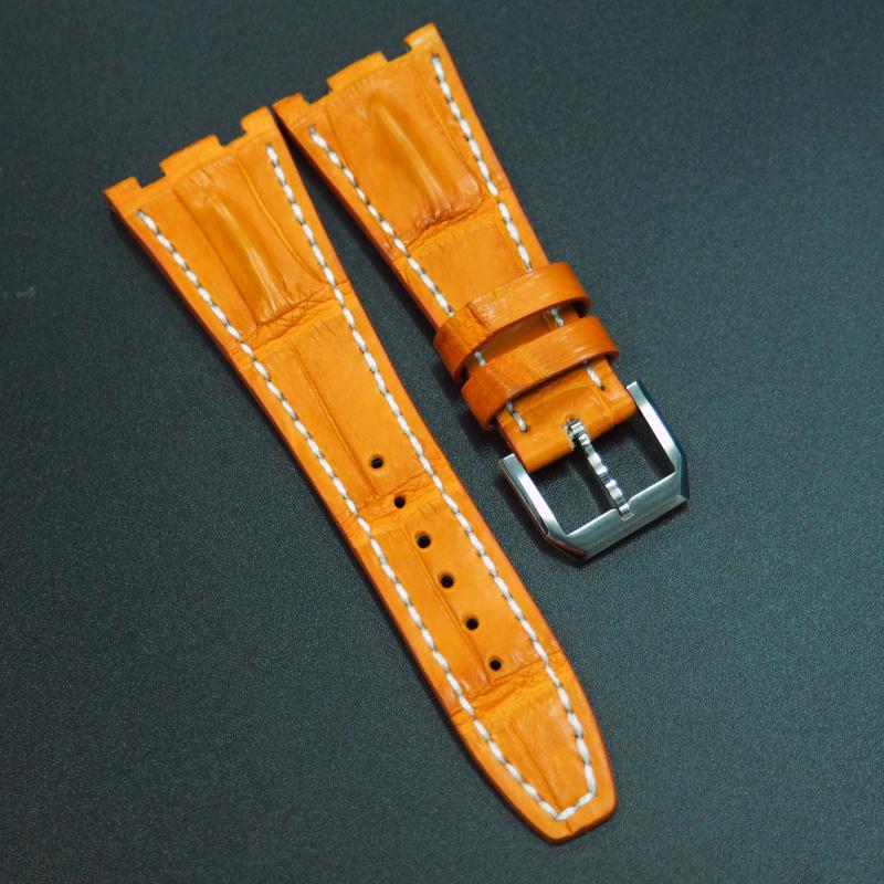 28mm 優質橙色鱷魚皮錶帶配白車線 適合Audemars Piguet Royal Oak Offshore