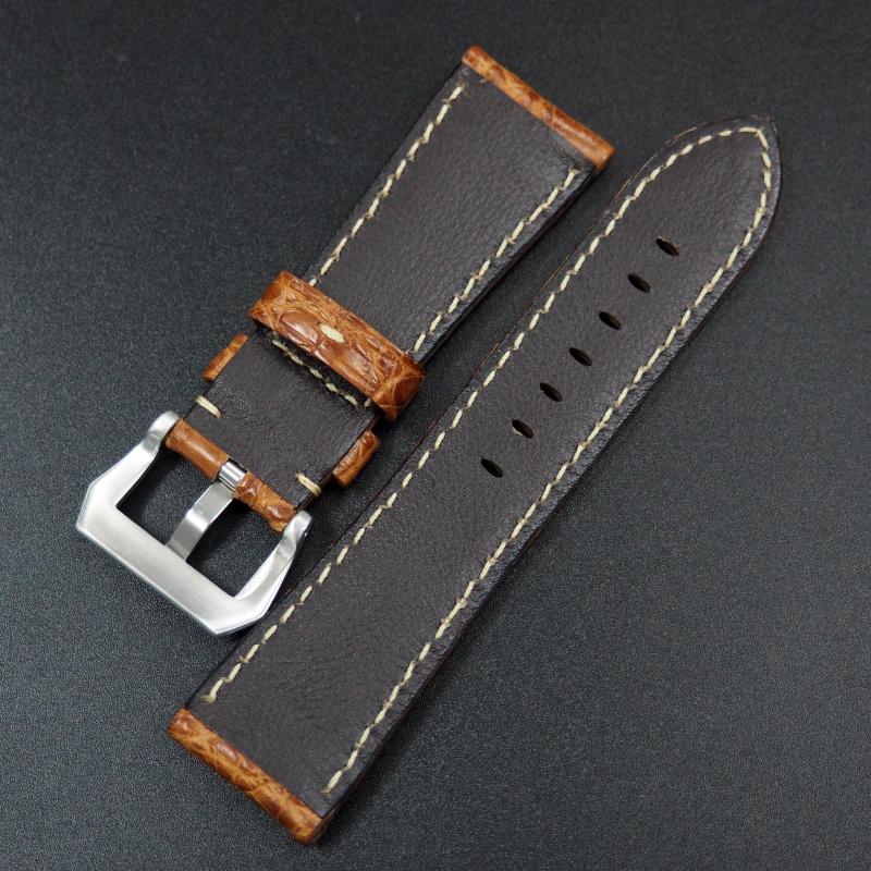 26mm 琥珀橙鱷魚皮錶帶