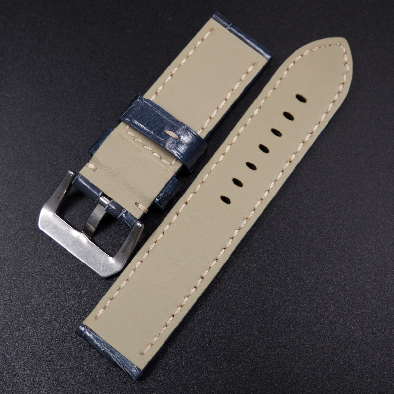 24mm 優質藍色鱷魚皮錶帶 適合Panerai
