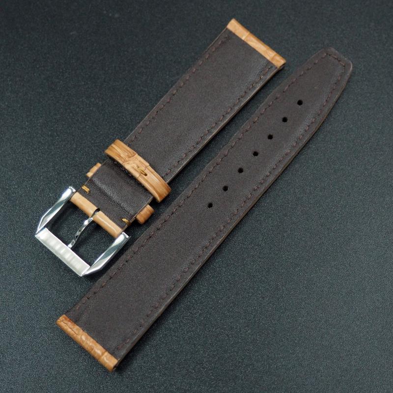 21mm IWC 黃金橙色鱷魚皮錶帶