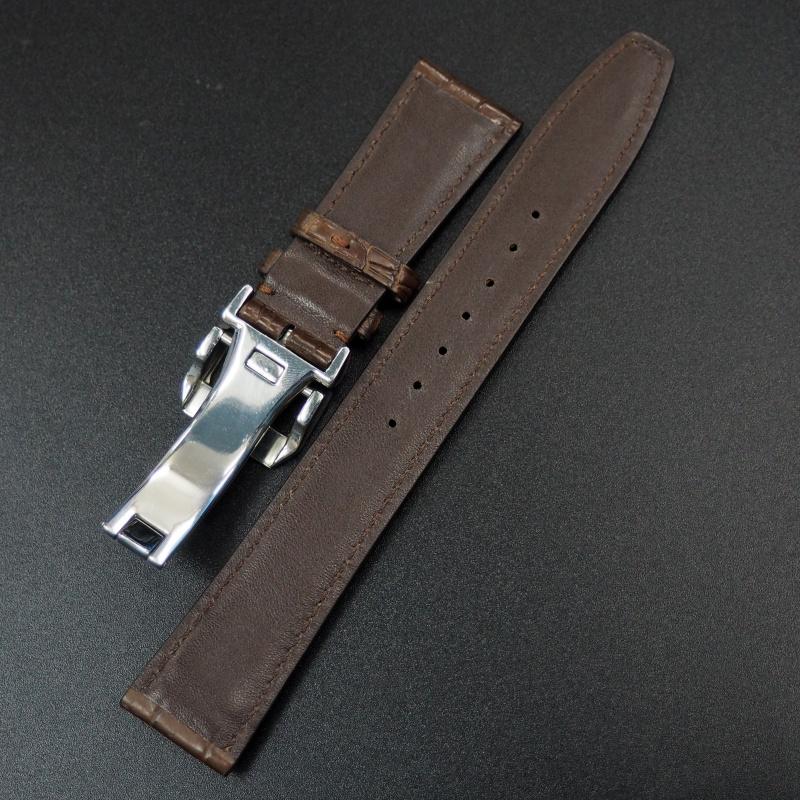 21mm IWC 棕色鱷魚皮錶帶配摺扣