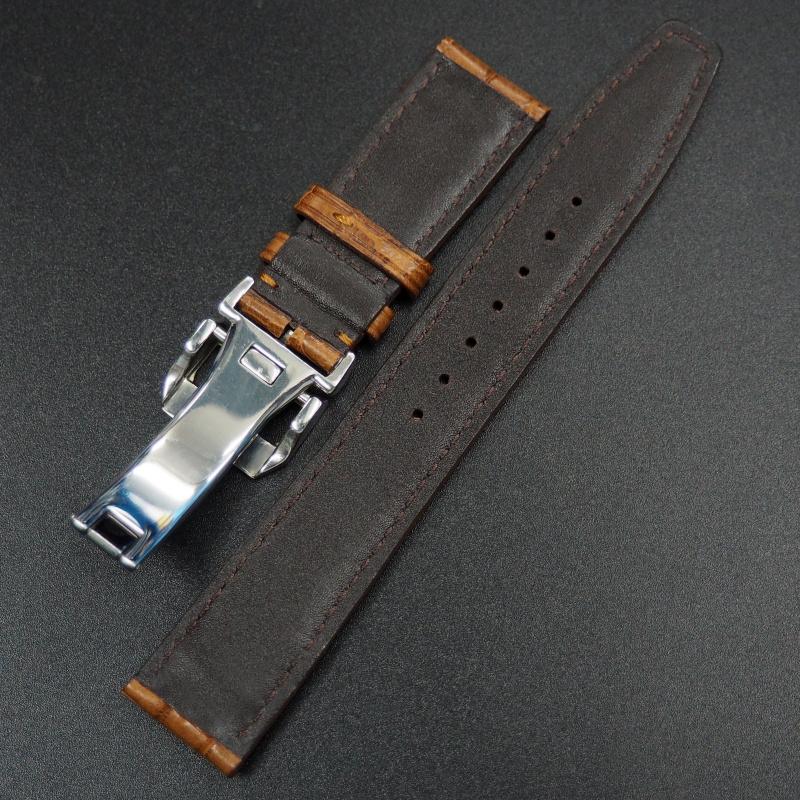 20mm IWC 銅橙色鱷魚皮錶帶配摺扣