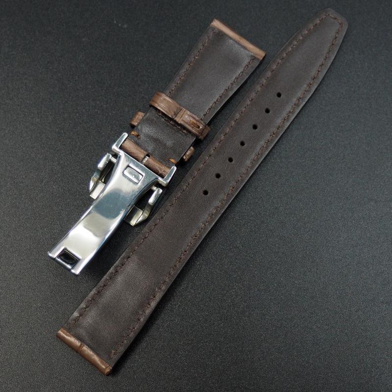 21mm IWC 杉樹紅色鱷魚皮錶帶配摺扣