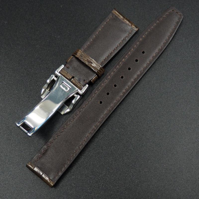 20mm IWC 濃咖啡色鱷魚皮錶帶配摺扣