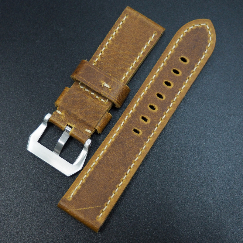 24mm 優質棕色牛皮錶帶配針扣 適合Panerai