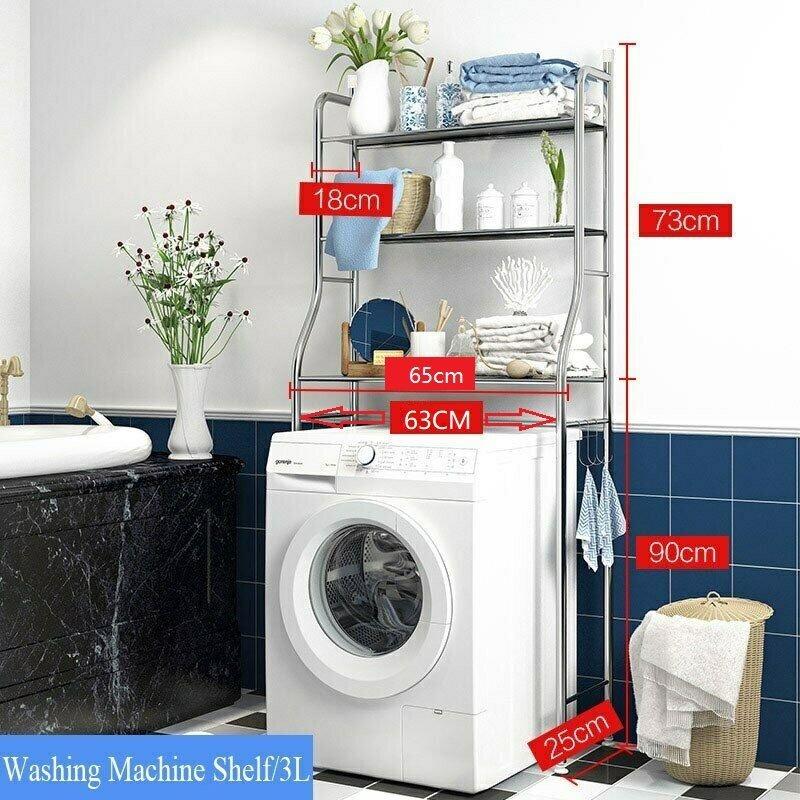 3層浴室洗衣機/馬桶 收納毛巾擺設不銹鋼架