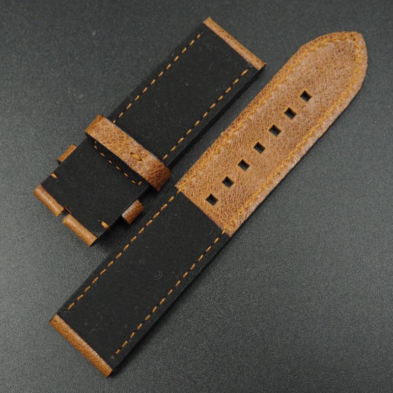 22mm, 23mm 優質銅橙色牛皮錶帶 適合Tudor Black Bay Bronze