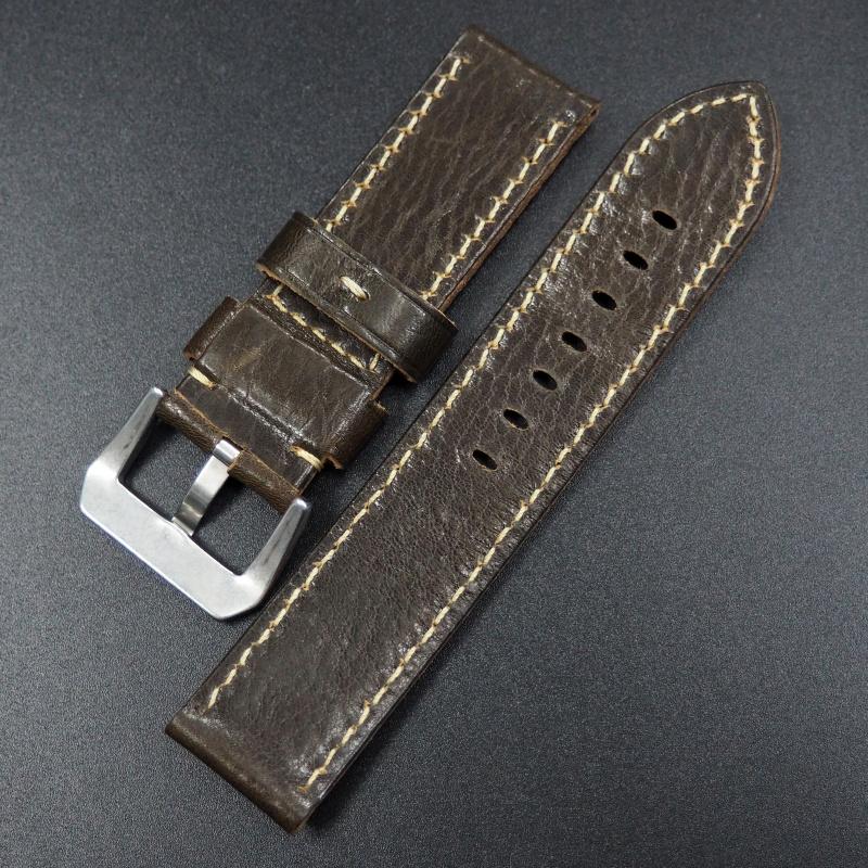 24mm 軍綠色牛皮錶帶配針扣 適合 Panerai