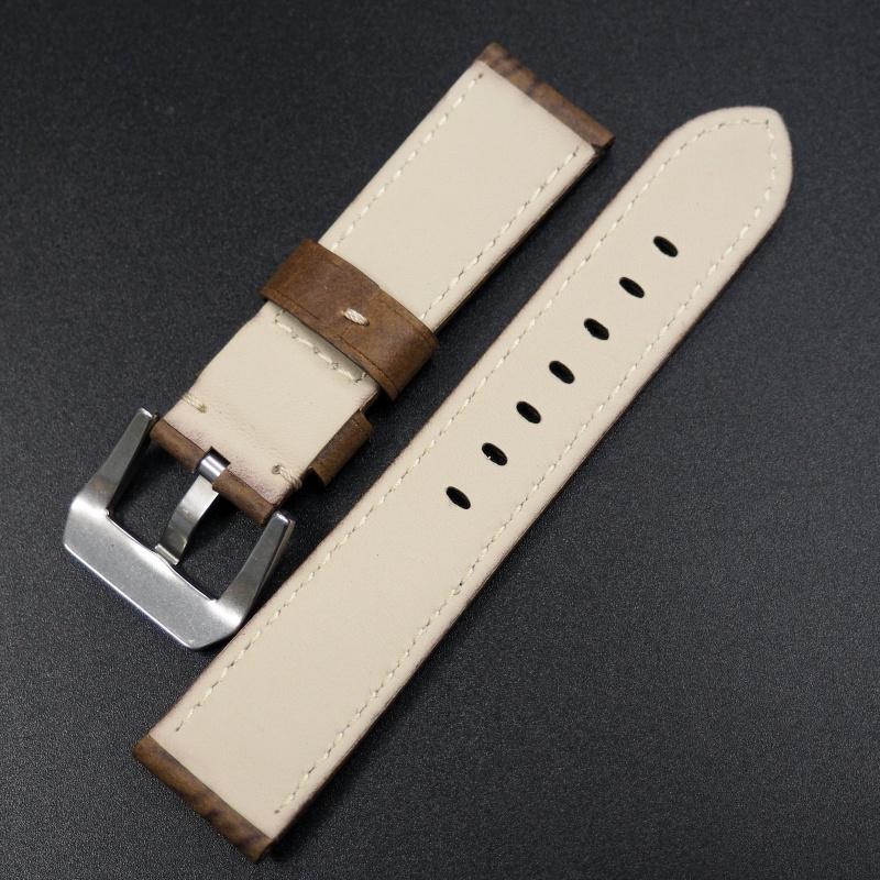 22mm Panerai 花生棕色牛皮錶帶