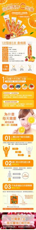 高濃度維他命C1000mg(20片X5支)香橙味泡騰片 特別添加鋅+葉黃素 提高免疫力