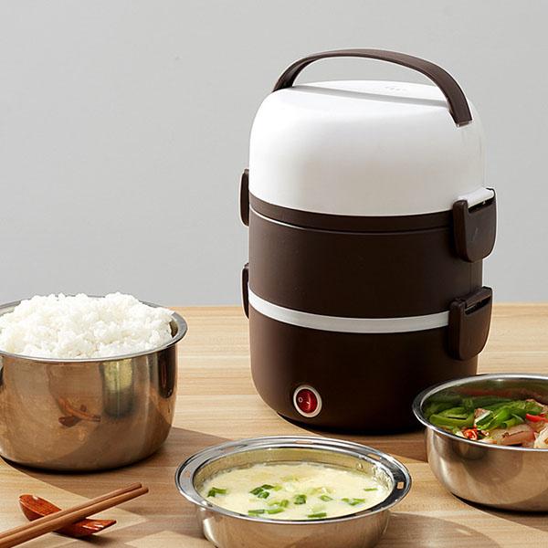 日本TSK - 多功能便攜電熱蒸煮飯盒不銹鋼電飯盒