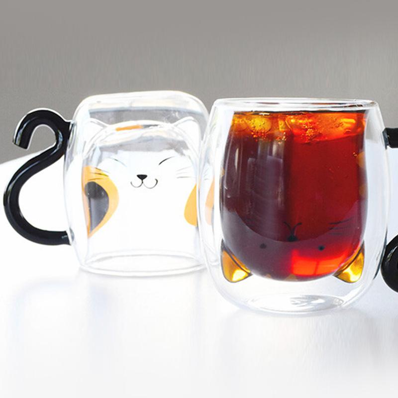 日版 動物 耐熱隔熱 有耳雙層玻璃杯 (三花貓) 250ml 【市集世界 - 日本市集】