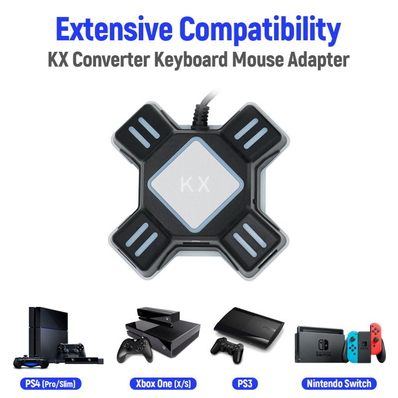 KX轉換器 PS4 / PS4 Pro / PS4 Slim / Xbox One / Xbox One S / Xbox One X / Xbox 360 / Xbox 360 Slim / PS3 / PS3 Slim / Switch遊戲手制轉鍵盤滑鼠適配器 控制器配件
