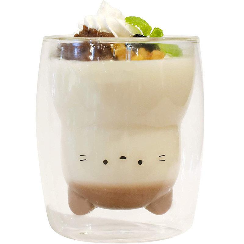 日版 動物 耐熱隔熱 雙層玻璃杯 (貓貓) 270ml 【市集世界 - 日本市集】