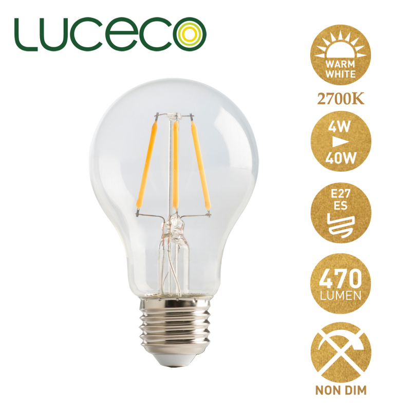 英國LUCECO - LED 4W 復古電燈泡 2700K 暖白光 E27 大螺頭 LA27W4F47-LE