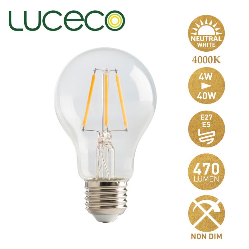 英國Luceco - LED 4W 復古電燈泡 4000K 柔白光 E27 大螺頭 LA27N4F47-LE