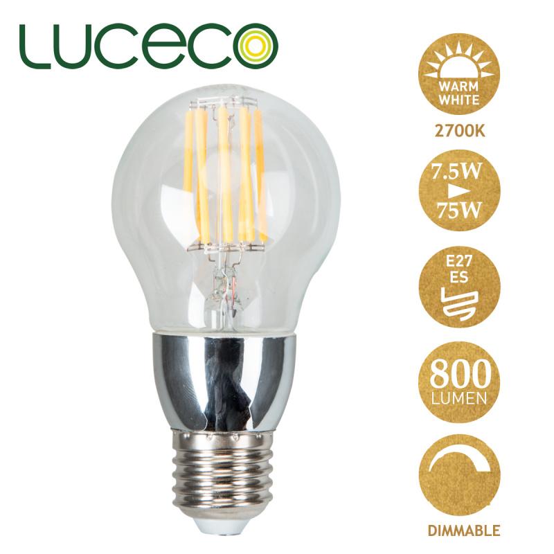 英國Luceco - LED 7.5W 復古電燈泡 2700K 暖白光 E27 大螺頭 可調光 LAD27W7FS80-LE