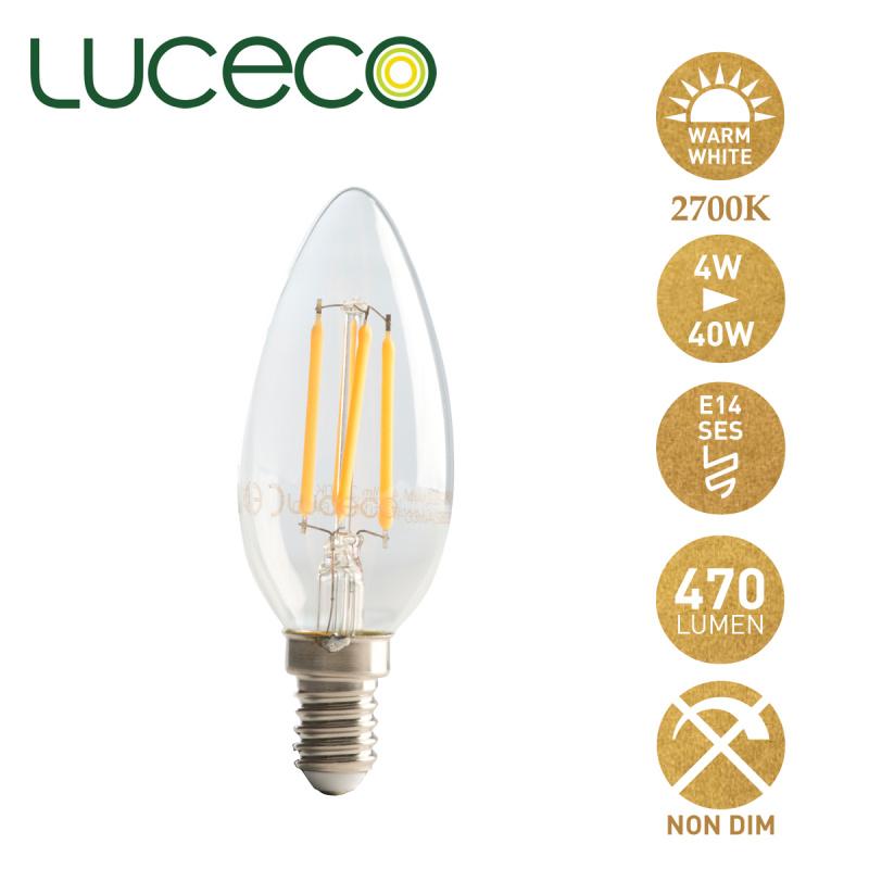 英國Luceco - LED 4W 復古燈絲蠟燭椒膽 2700K E14 細螺頭 暖白光 LC14W4F47-LE