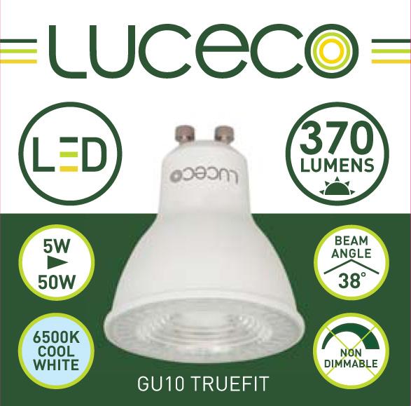 英國Luceco - LED 5W GU10 杯膽 射膽 射燈 6500K 冷白光 Truefit LGC5W37P-1A