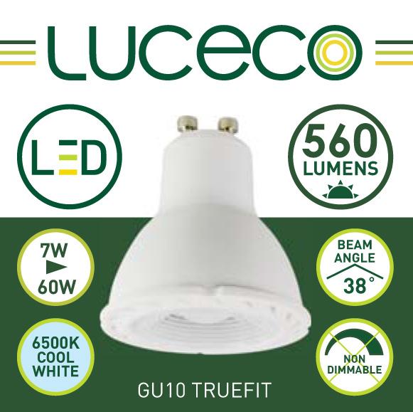 英國Luceco - LED 7W GU10 6500K 冷白光 Truefit 杯膽 射膽 射燈 LGC7W56-1A