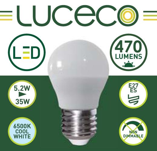英國Luceco - LED 5.2W 6500K E27 大螺頭470lm 冷白光 A60 LB27C5W47-1A
