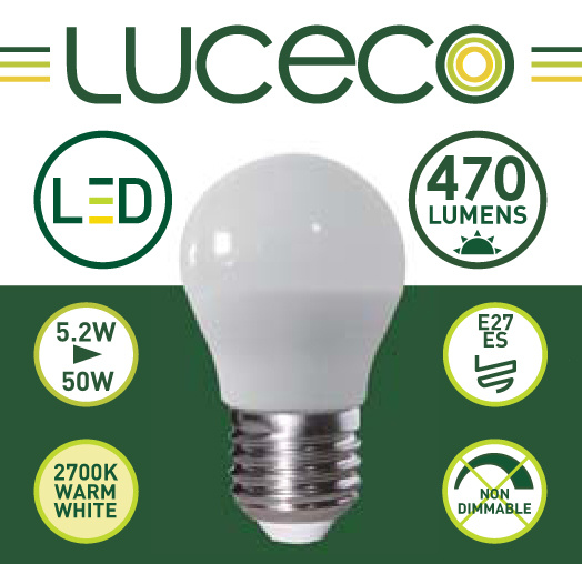 英國Luceco - LED 5.2W 2700K E27 大螺頭470lm 暖白光 A60 LB27W5W47-1A