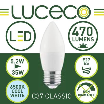 英國Luceco - LED 5.2W 6500K E27 大螺頭 470lm 冷白光 A60 C37 蠟燭椒膽 LC27C5W47-2A
