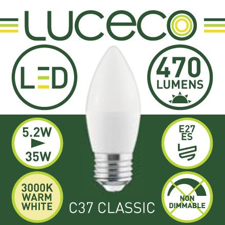 英國Luceco - LED 5.2W 3000K E27 大螺頭 470lm 暖白光 C37 蠟燭椒膽 LC27W5W47-2A