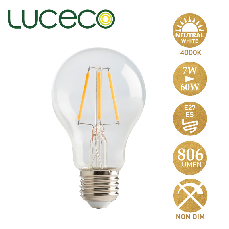 英國Luceco - LED 7W 復古電燈泡 4000K 柔白光 E27 大螺頭 LA27N6F81-LE