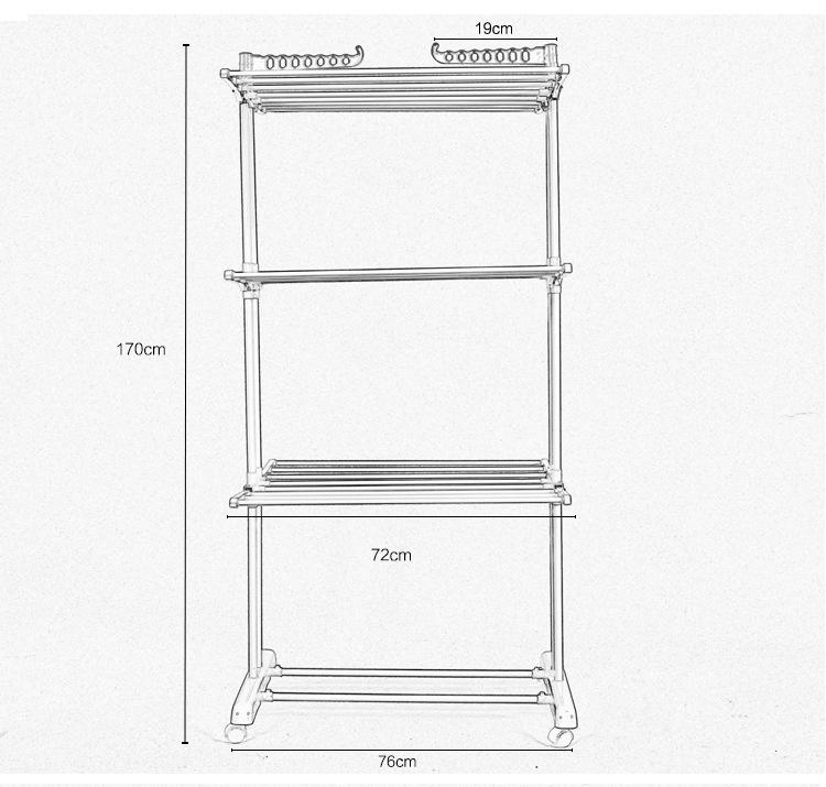 三層摺疊晾衣組合架