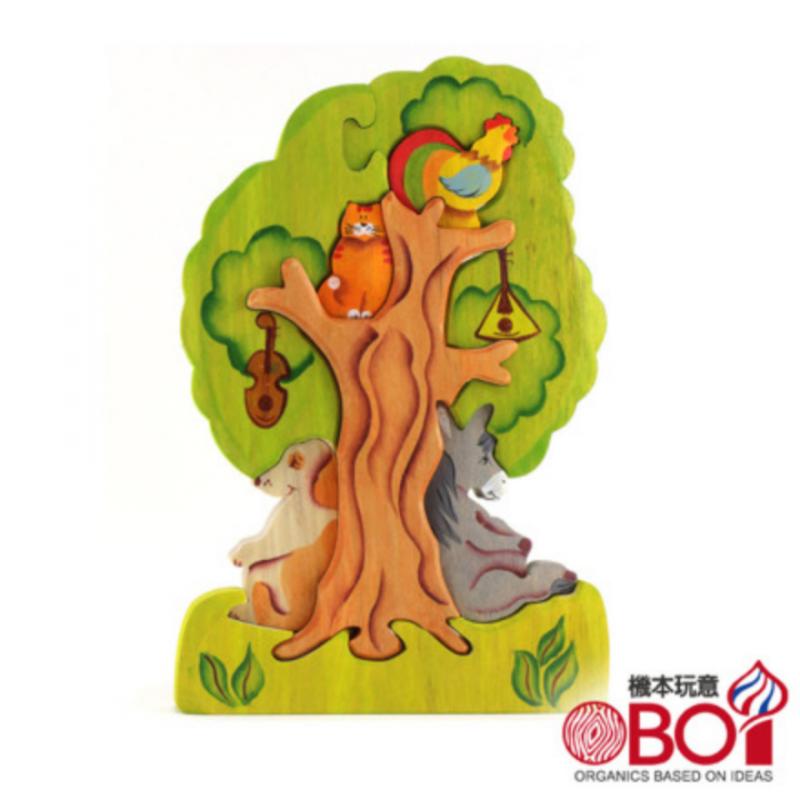 俄羅斯積木 -- 淳木童話 -- 立體拼圖系列: 布萊梅音樂家在樹上