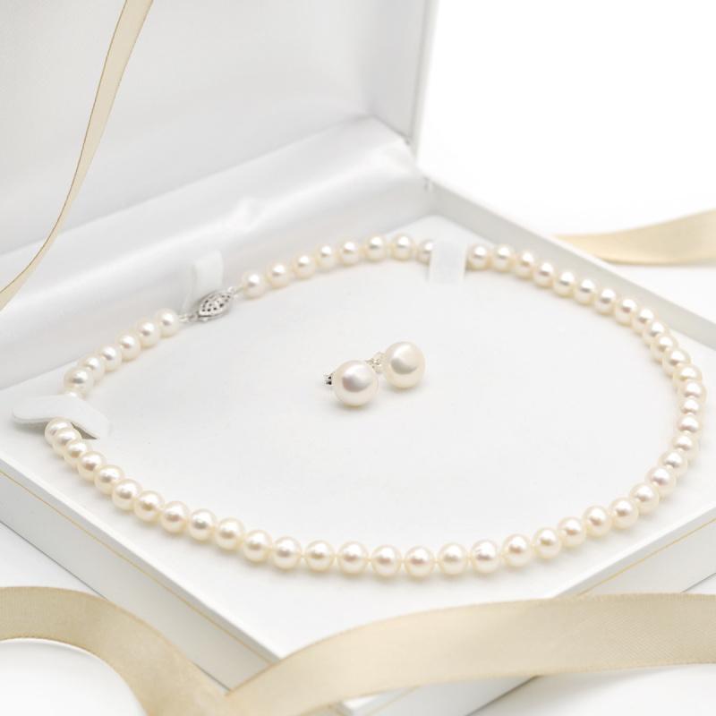 One & Ownly - 淡水珍珠純銀頸鏈及耳環禮物套裝
